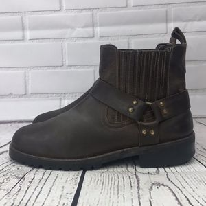 GBX Brown Leather Chelsea Harness Ankle Boots 9